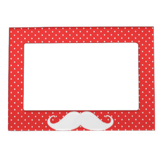 Funny White Mustache On Red Polka Dots Magnetic Picture Frames