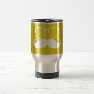 Funny White Mustache on Vintage Background Travel Mug