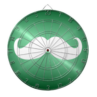 Funny White Mustache on Vintage Green Background Dart Board