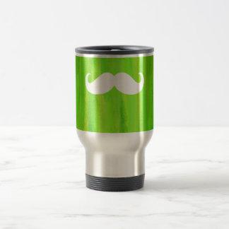 Funny White Mustache on Vintage Green Background Travel Mug