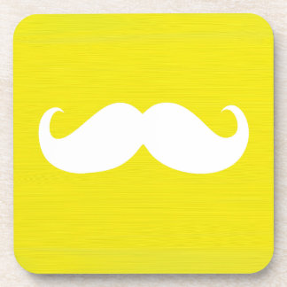 Funny White Mustache on Yellow Background Beverage Coaster