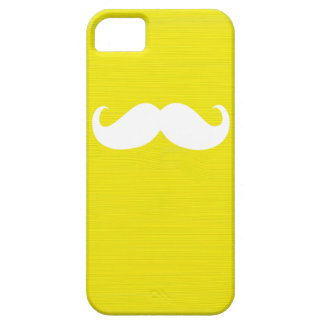 Funny White Mustache on Yellow Background iPhone SE/5/5s Case