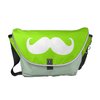 Funny White Mustache on Yellow Green Background Messenger Bags