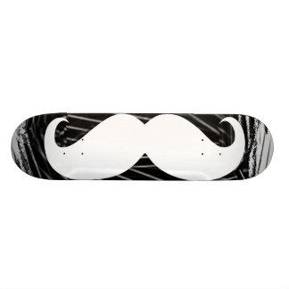 Funny white mustache skateboard deck