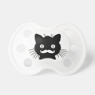 FUNNY WHITE MUSTACHE VINTAGE BLACK CAT BooginHead PACIFIER