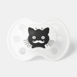 FUNNY WHITE MUSTACHE VINTAGE BLACK CAT PACIFIER