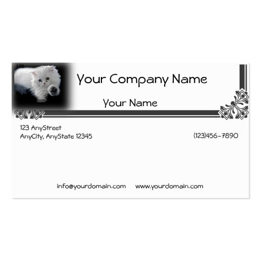 Funny White Persian Cat Gives You a High Five Business Card
