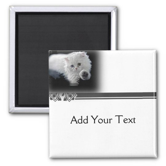 Funny White Persian Cat Magnet