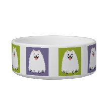 Funny White Pomeranian Cartoon Dog Bowl