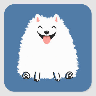 Funny White Pomeranian Square Sticker