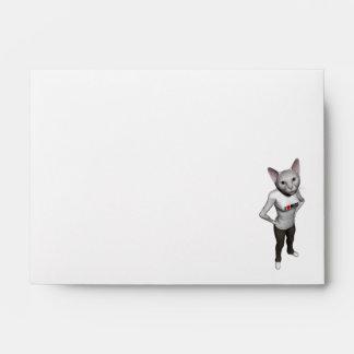 Funny White Siamese Cat Loves Mice Envelope