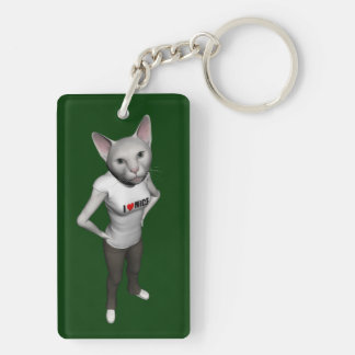 Funny White Siamese Cat Loves Mice Keychain