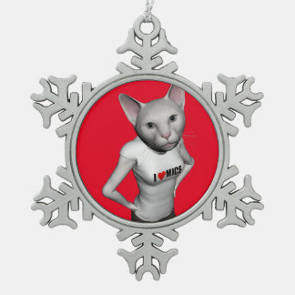 Funny White Siamese Cat Loves Mice Snowflake Pewter Christmas Ornament