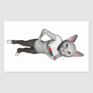 Funny White Siamese Cat Loves Mice Rectangular Stickers