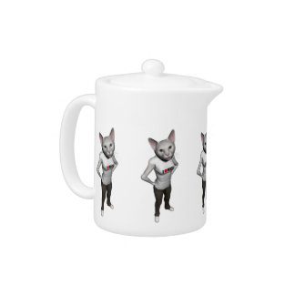 Funny White Siamese Cat Loves Mice Teapot