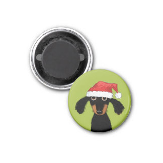 Funny Wiener Dog Santa 1 Inch Round Magnet