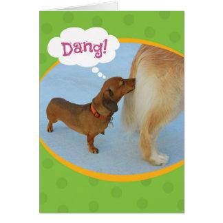 Funny Wiener Sniffing Golden Retiever Birthday Card