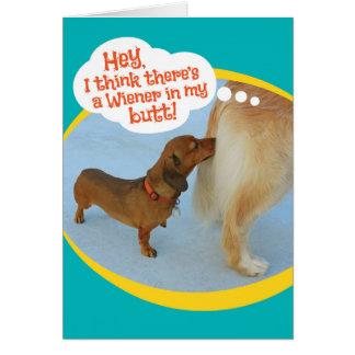 Funny Wiener Sniffing Golden Retiever Card