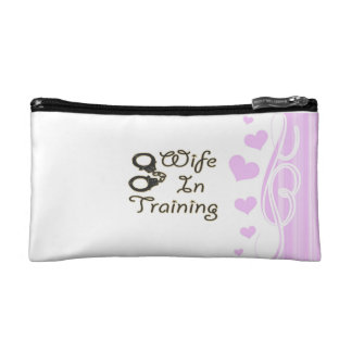 funny wife in training handcuffs bride to be mrs makeup bag