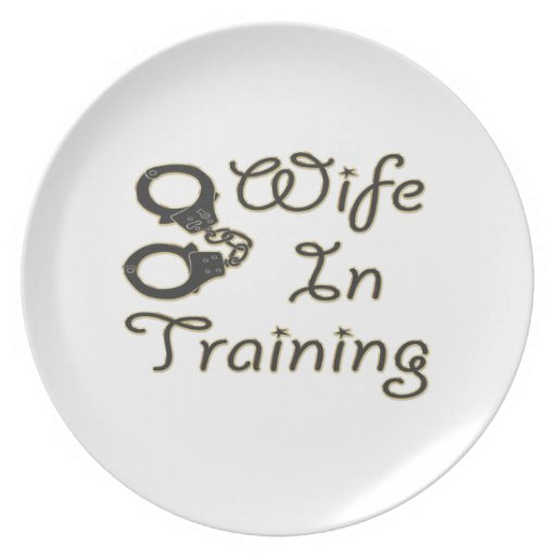 funny wife in training handcuffs bride to be mrs party plate