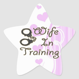 funny wife in training handcuffs bride to be mrs star sticker