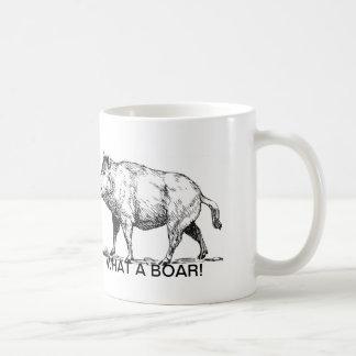 "Funny Wild Boar Mug: ""WHAT A BOAR! ""(pun intended) Classic White Coffee Mug"