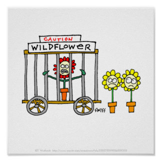 Funny Wildflower Cartoon Poster