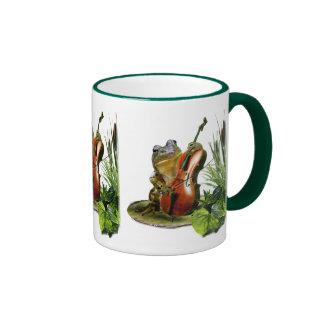 Funny wildlife mug with cello playing frog