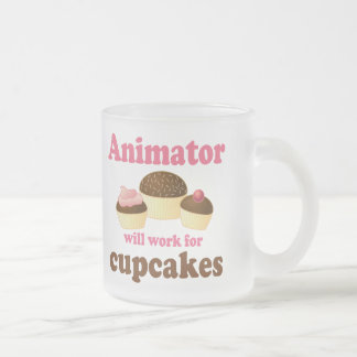 Funny Will Work for Cupcakes Animator Frosted Glass Coffee Mug