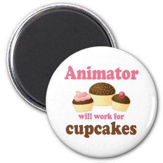 Funny Will Work for Cupcakes Animator Refrigerator Magnets