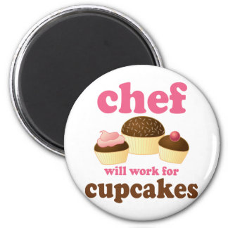 Funny Will Work for Cupcakes Chef Refrigerator Magnet