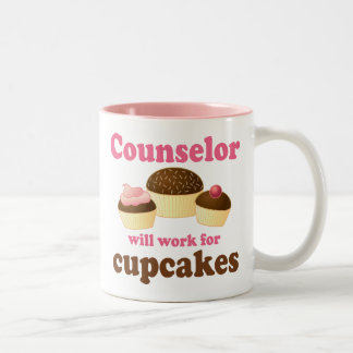 Funny Will Work for Cupcakes Counselor Two-Tone Coffee Mug