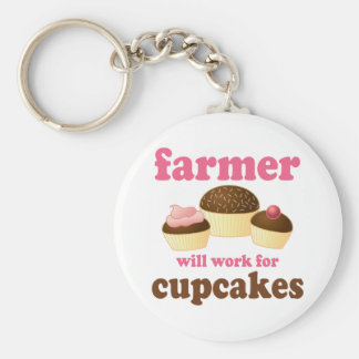 Funny Will Work for Cupcakes Farmer Basic Round Button Keychain
