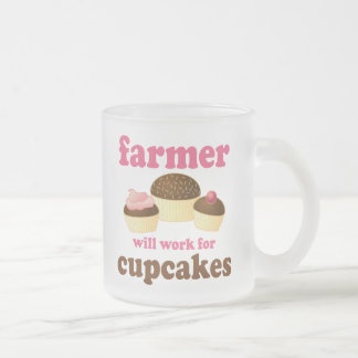 Funny Will Work for Cupcakes Farmer Frosted Glass Coffee Mug
