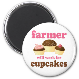 Funny Will Work for Cupcakes Farmer Refrigerator Magnets
