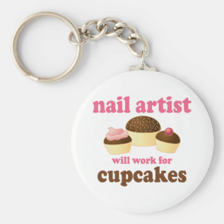 Funny Will Work for Cupcakes Nail Artist Basic Round Button Keychain