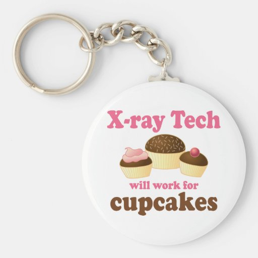 Funny Will Work for Cupcakes X-ray Tech Basic Round Button Keychain