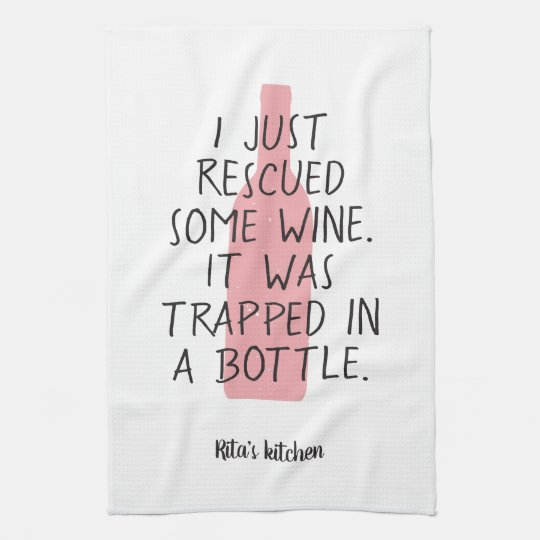 Rose All Day Wine Funny Kitchen Hand Tea Towel