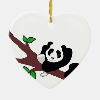 Funny Wine Drinking Panda Bear in Tree Ceramic Ornament