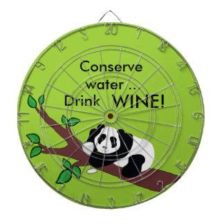 Funny Wine Drinking Panda Bear in Tree Dartboard With Darts