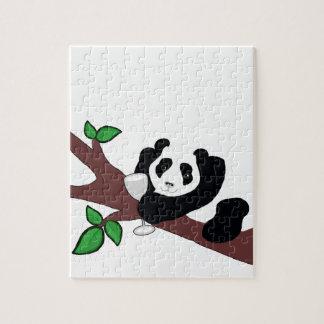 Funny Wine Drinking Panda Bear in Tree Puzzle