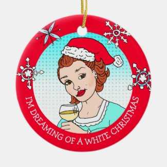 Funny Wine Humor Retro Lady White Christmas Ceramic Ornament