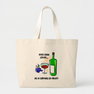 Funny wine humor saying large tote bag