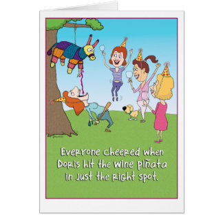 Funny Wine Pinata birthday card