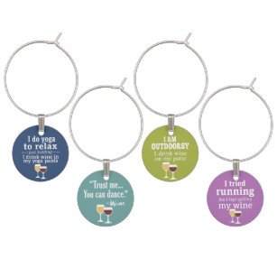 Funny Quotes Wine Glass Charms Tags Zazzle