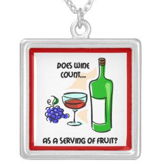 Funny wine square pendant necklace