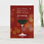 "Funny Wine Themed Birthday Card<br><div class=""desc"">A funny birthday card that asks the age old question,  is the glass 1/2 full or empty?  A fun way to send birthday wishes,  wine country style!</div>"
