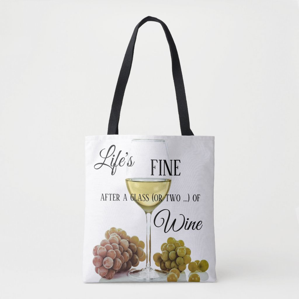 Funny Wine Themed Tote Bag