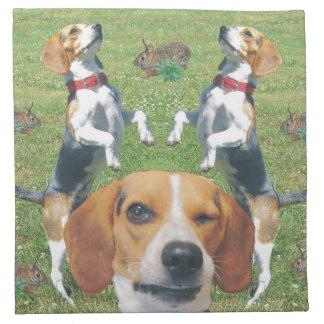 Funny Winking Beagle and Rabbits Cloth Napkins