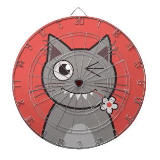Funny Winking Cartoon Kitty Cat Dartboard With Darts